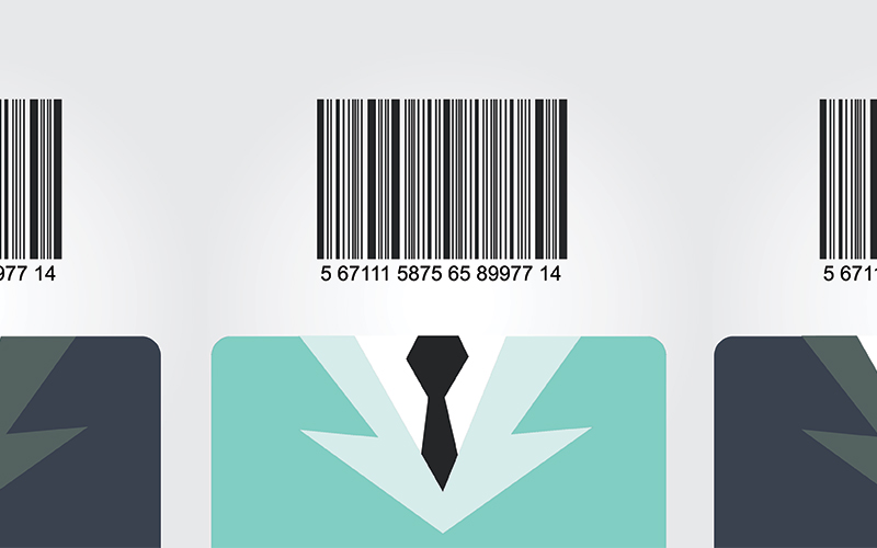 Personal Branding - image of suits with bar codes above the suit